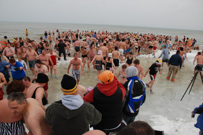 An estimated 900 swimmers took part in the 24th annual Jacksonport Polar Bear Club Swim - January 1, 2010 at Lakeside Park in Jacksonport, Door County Wisconsin.